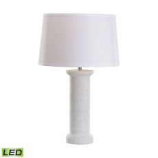 White Marble Rough Round Led Table Lamp