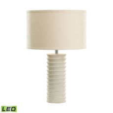 Mint Sand Stone Round Ribed Led Table Lamp