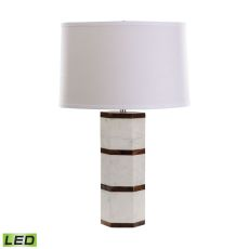 White Marble And Wood Hexagon Led Table Lamp