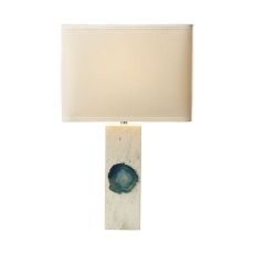 Yucatan 1 Light Table Lamp In White Marble And Blue Agate