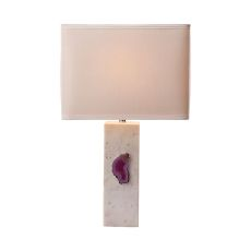 Yucatan 1 Light Table Lamp In White Marble And Pink Agate