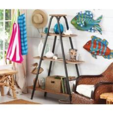3-Tiered Recycled Wood and Metal Shelf