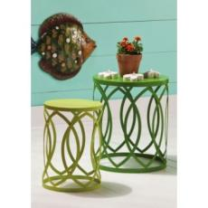Light and Dark Green Nesting Tables/Stools