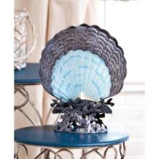 Glass and Metal Scallop Shell Lamp
