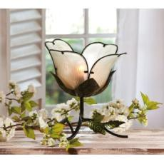 Glass and Metal Flower Table Lamp