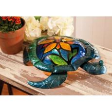 Glass Turtle with Flower Lamp