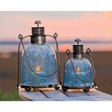 Blue Mosaic Glass Lantern Set of 2