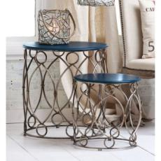 Set Of 2 Round Metal And Wood Nested Table