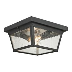 Springfield 2 Light Exterior Flush Mount In Matte Textured Black