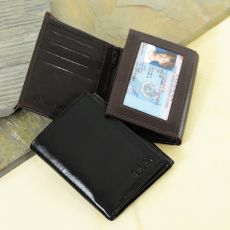 Brown Oxford Tri-Fold Genuine Leather Wallet