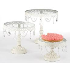 Jeweled White Round Cake Stand Set of 3