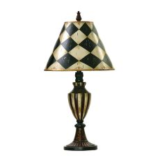 Harlequin & Stripe Urn Table Lamp In Black And Antique White