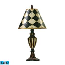 Harlequin & Stripe Urn Led Table Lamp In Black And Antique White