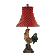 Crowing Rooster Table Lamp In Barnyard Finish