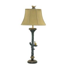 Bird On Branch Table Lamp In Black And Gold Leaf