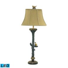 Bird On Branch Led Table Lamp In Black And Gold Leaf