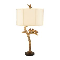 Three Bird Light Table Lamp In Gold Leaf And Black