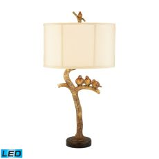 Three Bird Light Led Table Lamp In Gold Leaf And Black