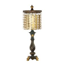 Amber & Crystal Table Lamp In Gold Leaf And Black