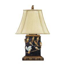 Birds On Branch Table Lamp In Black