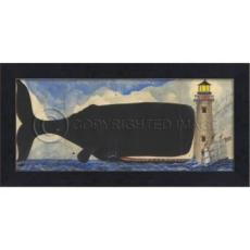 Big Fish Drawn To The Light Whale Framed Art