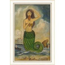 Green Tail Mermaid with Mirror Framed Art