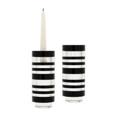 Small Sliced Tuxedo Crystal Candleholders - Set Of 2