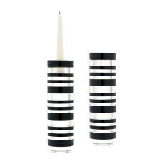 Large Sliced Tuxedo Crystal Candleholders - Set Of 2