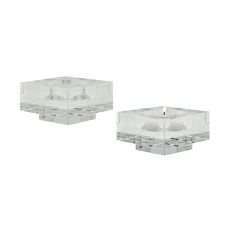 Small Square Windowpane Crystal Candleholders - Set Of 2