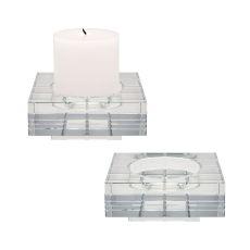 Large Square Windowpane Crystal Candleholders - Set Of 2