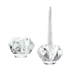 Small Faceted Star Crystal Candleholders - Set Of 2