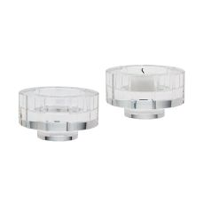 Small Round Windowpane Crystal Candleholders - Set Of 2