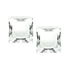 Large Dimpled Crystal Cubes - Set Of 2