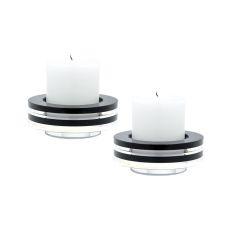 Round Tuxedo Crystal Candleholder - Set Of2