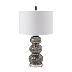 Black Mercury Gourd Table Lamp With Pure White Shade