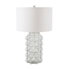 Bubble Table Lamp In Clear Glass With Off White Shade