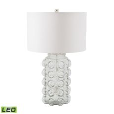 Bubble Led Table Lamp In Clear Glass With Off White Shade