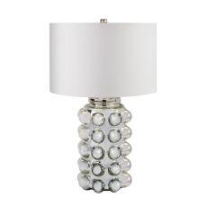 Bubble Glass Table Lamp In Silver Mercury
