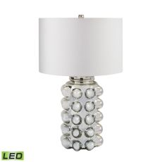 Bubble Glass LED Table Lamp in Silver Mercury