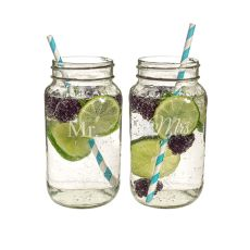 Mr. & Mrs. 26Oz. Mason Jar Set