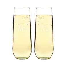 Mr. & Mrs. Stemless Champagne Flutes
