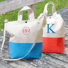 Color Dipped Canvas Tote Bag Beach Bag