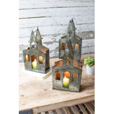 Recycled Metal Church Luminary, Set of 6