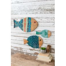 Painted Wooden Fish Wall Hangings, Set of 3