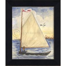 Boy in Sailboat Framed Ship Art