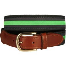 Classic Green Stripe On Navy Belt, Latigo Leather
