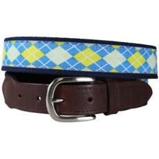 Argyle (Blue & Yellow) Leather Tab Belt