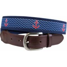 Anchors Away (Navy) Leather Tab Belt Latigo Leather