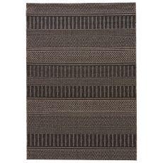 Indoor-Outdoor Geometric Pattern Brown/Black Polypropylene Area Rug ( 8X10)