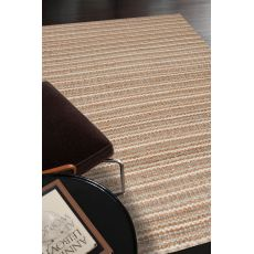 Naturals Stripes Pattern Taupe/Ivory Cotton And Jute Area Rug (9X12)